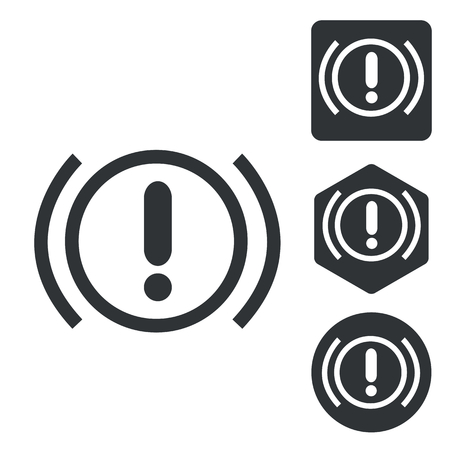 signaling: Alert sign icon set, monochrome, isolated on white