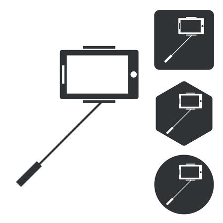 pc icon: Tablet PC icon set, monochrome, isolated on white