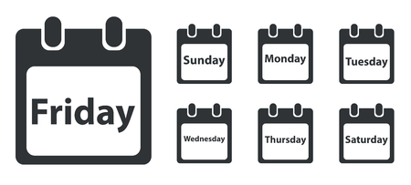 weekdays: Week day icon set, calendar sheet with text, monochrome, isolated on white