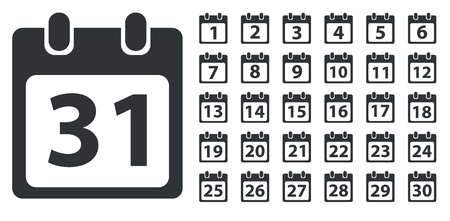 Calendar day icon set, number on calendar page, monochrome, isolated on white