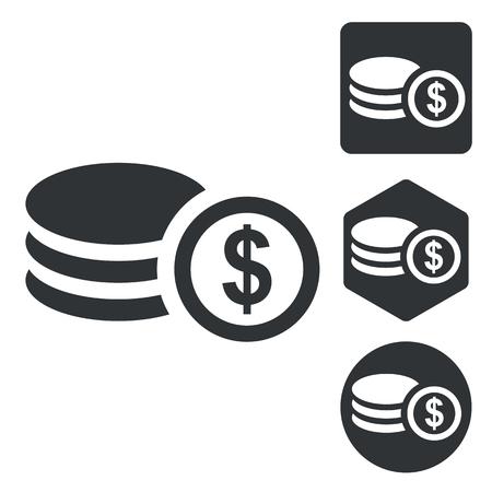 Dollar rouleau icon set, monochrome, isolated on white