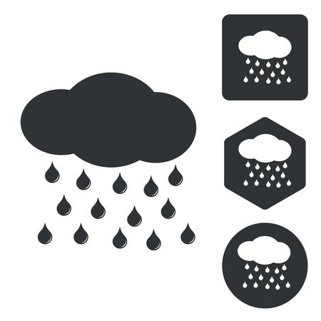 sleet: Rain icon set, monochrome, isolated on white