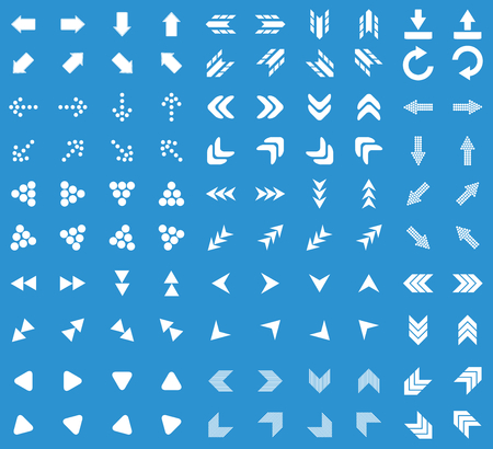 back and forth: Arrows icon set, simple white image on blue background
