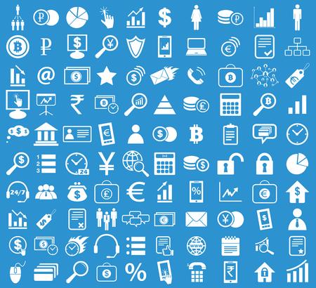 blue icon: Management icon set, simple white image on blue background Illustration