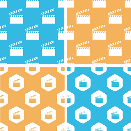cinematograph: Clapperboard pattern set, simple and hexagon, on yellow or blue background Vectores