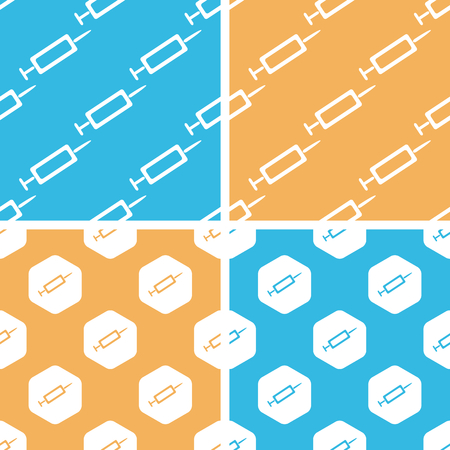 an injector: Syringe pattern set, simple and hexagon, on yellow or blue background