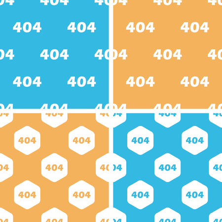 numerical code: 404 pattern set, simple and hexagon, on yellow or blue background
