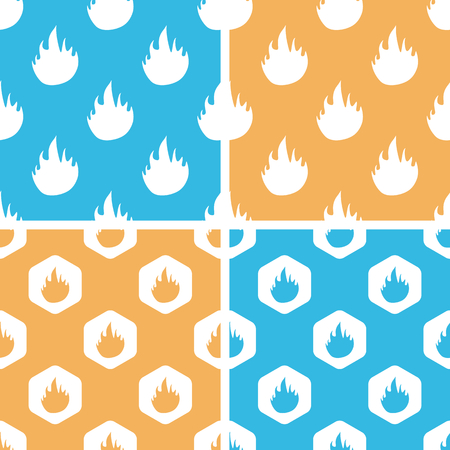 conflagration: Flame pattern set, simple and hexagon, on yellow or blue background Illustration