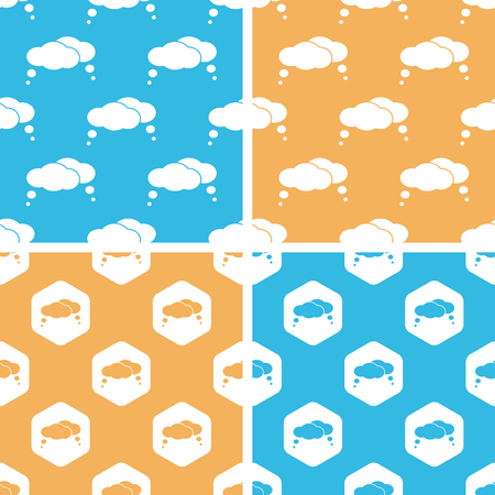 estimation: Thought bubbles pattern set, simple and hexagon, on yellow or blue background