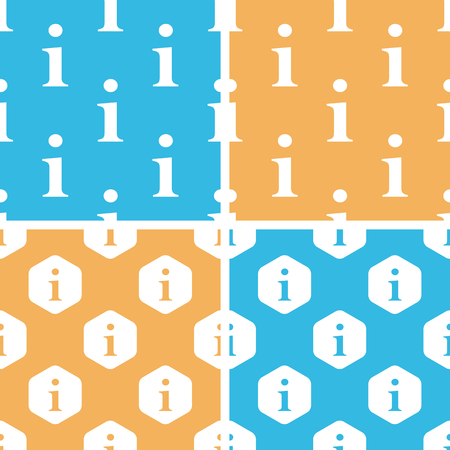Information pattern set, simple and hexagon, on yellow or blue background