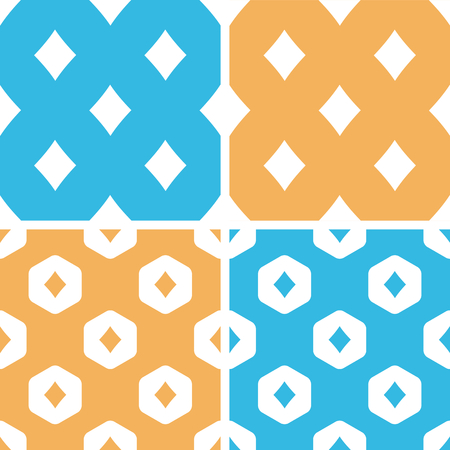Diamonds pattern set, simple and hexagon, on yellow or blue background