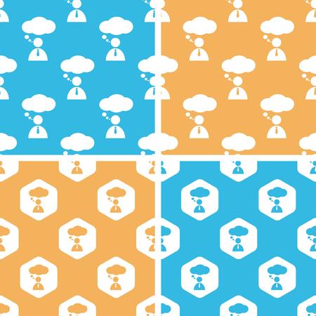 denkender mensch: Thinking Person Mustersatz, einfach und Sechseck, auf gelbem oder blauem Hintergrund