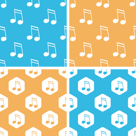 doubled: Sixteenth note pattern set, simple and hexagon, on yellow or blue background