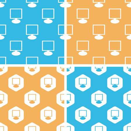 demonstrate: Monitor pattern set, simple and hexagon, on yellow or blue background