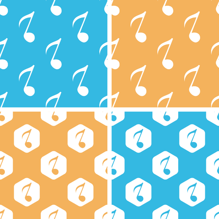 eighth note: Eighth note pattern set, simple and hexagon, on yellow or blue background