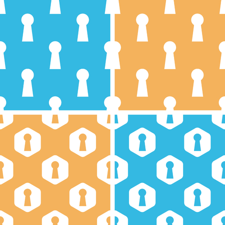 slit: Keyhole pattern set, simple and hexagon, on yellow or blue background Illustration