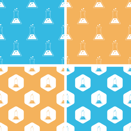 reagent: Conical flask pattern set, simple and hexagon, on yellow or blue background Illustration