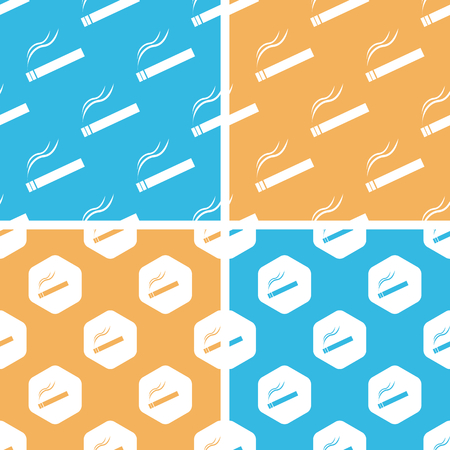 cigar shape: Burning cigarette pattern set, simple and hexagon, on yellow or blue background