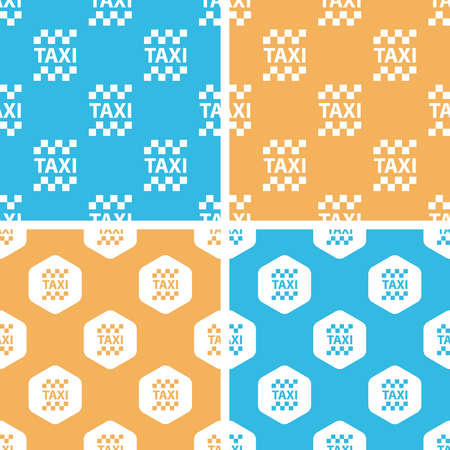 chequer: Taxi pattern set, simple and hexagon, on yellow or blue background Illustration