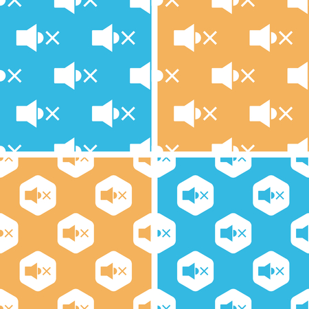 muted: Muted loudspeaker pattern set, simple and hexagon, on yellow or blue background