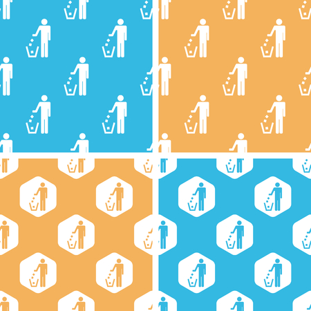 keep clean: Keep clean pattern set, simple and hexagon, on yellow or blue background