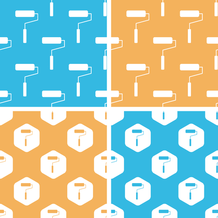 blue roller: Paint roller pattern set, simple and hexagon, on yellow or blue background Illustration