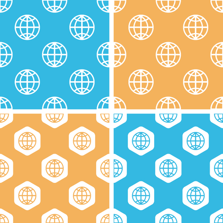 equator: Globe pattern set, simple and hexagon, on yellow or blue background