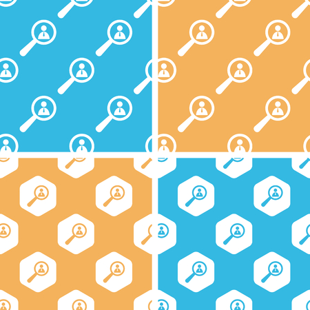 details: User details pattern set, simple and hexagon, on yellow or blue background