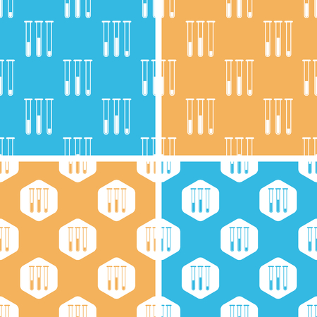 yellow lab: Test-tubes pattern set, simple and hexagon, on yellow or blue background