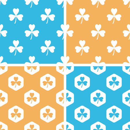 clover backdrop: Clover pattern set, simple and hexagon, on yellow or blue background
