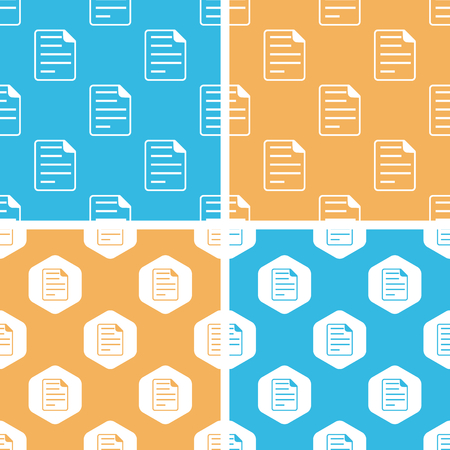 article writing: Document page pattern set, simple and hexagon, on yellow or blue background Illustration
