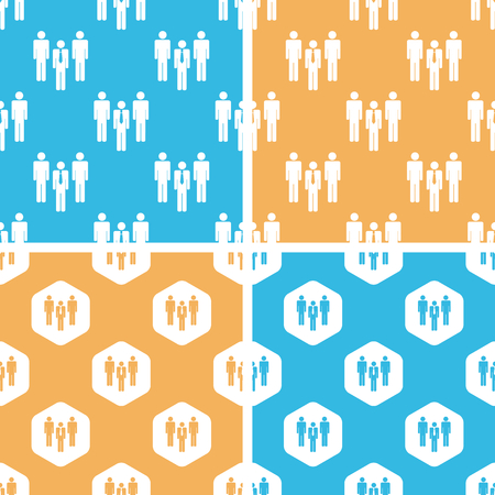 group pattern: Work group pattern set, simple and hexagon, on yellow or blue background Illustration