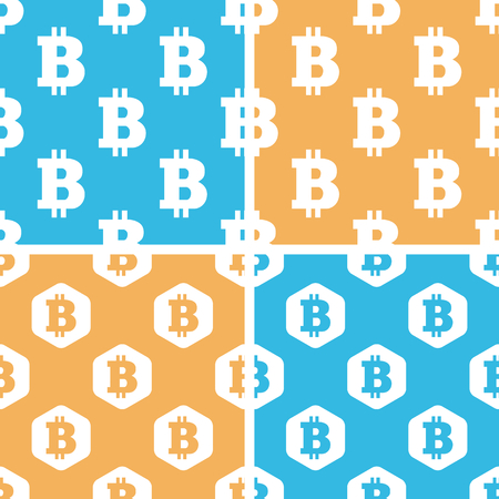 crypto: Bitcoin pattern set, simple and hexagon, on yellow or blue background