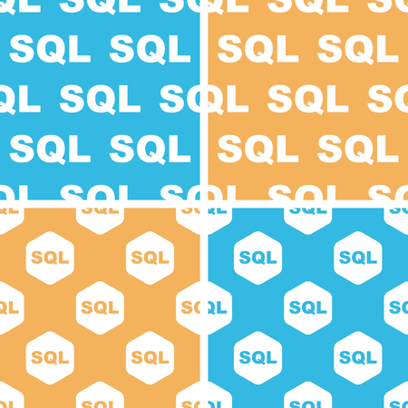relational: SQL pattern set, simple and hexagon, on yellow or blue background Illustration