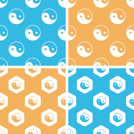Ying yang pattern set, simple and hexagon, on yellow or blue background