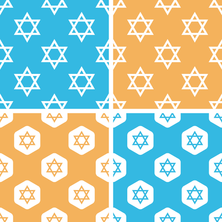 jews: Star of David pattern set, simple and hexagon, on yellow or blue background