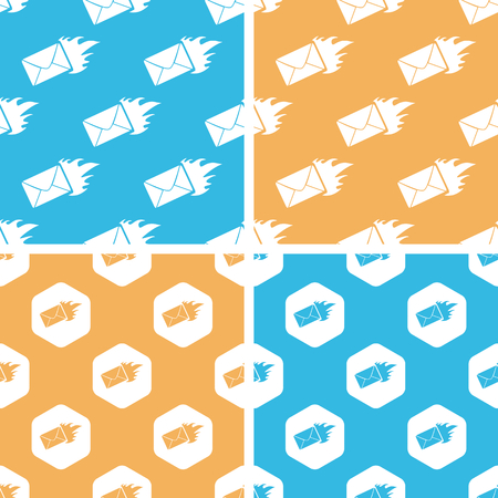 meaningful: Burning envelope pattern set, simple and hexagon, on yellow or blue background