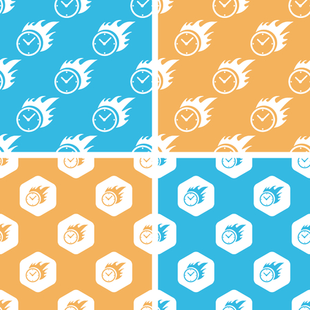 bounds: Burning clock pattern set, simple and hexagon, on yellow or blue background