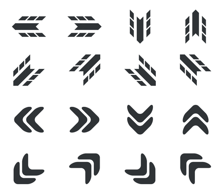 doubled: Arrow icon set, doubled rounded and tyre print styled black arrows, on white background