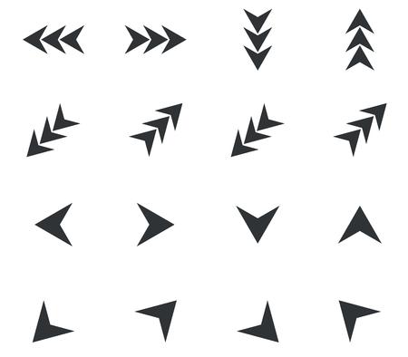 éles: Nyíl ikon készlet, háromszorosára nőtt, és éles fekete nyilak, fehér alapon Illusztráció