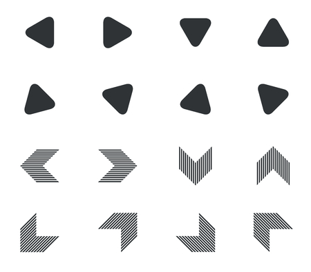 hatched: Arrow icon set, rounded and hatched black arrows, on white background