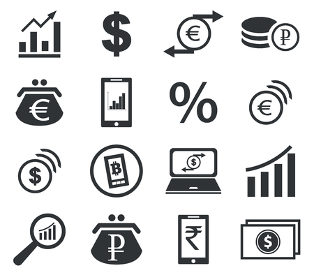 rouleau: Finance icon set 2, simple black images, on white background
