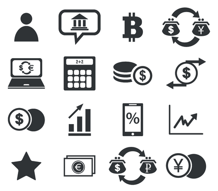 Finance icon set 4, simple black images, on white background