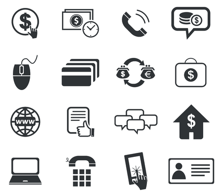 rouleau: Finance icon set 5, simple black images, on white background