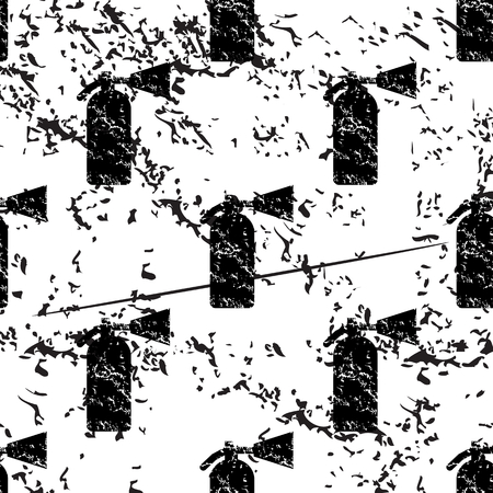 conflagration: Fire extinguisher pattern grunge, black image on white background
