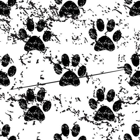 track pad: Animal paw pattern grunge, black image on white background Illustration