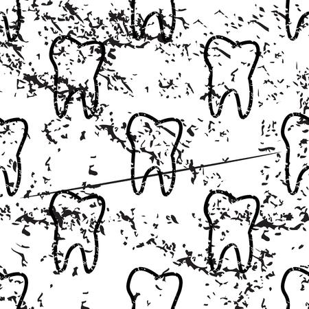dens: Tooth pattern grunge, black image on white background Illustration