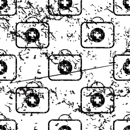 firstaid: First-aid kit pattern grunge, black image on white background