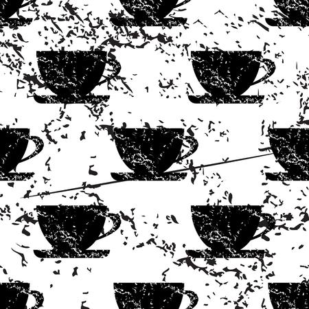 pattern grunge: Cup pattern grunge, black image on white background