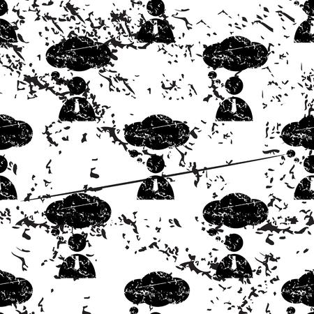 denkender mensch: Thinking Person muster, schmutz, schwarzes Bild auf wei�em Hintergrund Illustration